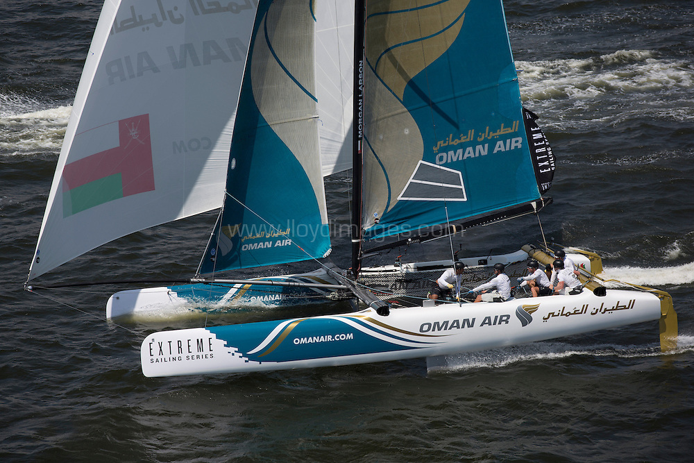 8th December, 2012. Rio de Janeiro, Brazil..Extreme Sailing Series 2012, Act 8..Images of Oman Air, skippered by Morgan Larson (USA), with tactician Will Howden (GBR), mainsail trim Charlie Ogletree (USA), headsail trim Andy Maloney (NZL) and bowman Nasser Al Mashari (OMA)...Credit: Lloyd Images.