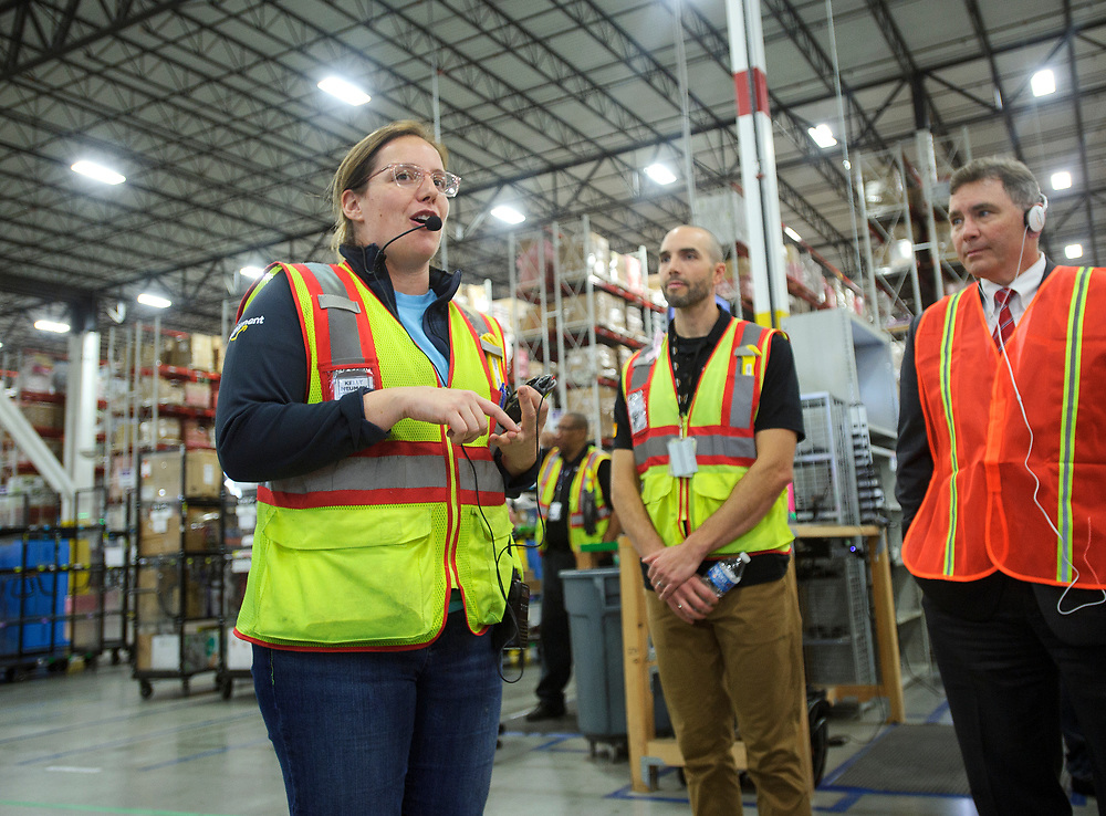 Amazon Outbound Senior Operations Manager Kelly Neuman speaks during an event as elected officials and community leaders tour Amazon Fulfillment Center in Easton.