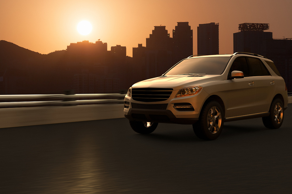 3D rendering of a SUV on motion with the silhouette of Hong Kong skyline