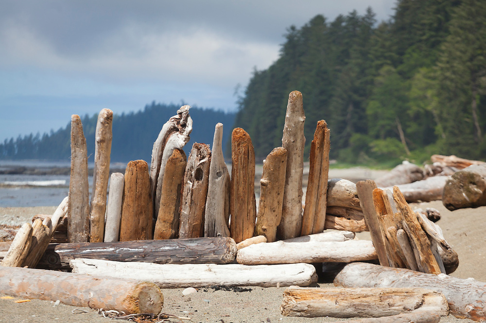 Driftwood furniture at Toscowis Creek camp, West Coast Trail, British Columbia, Canada.