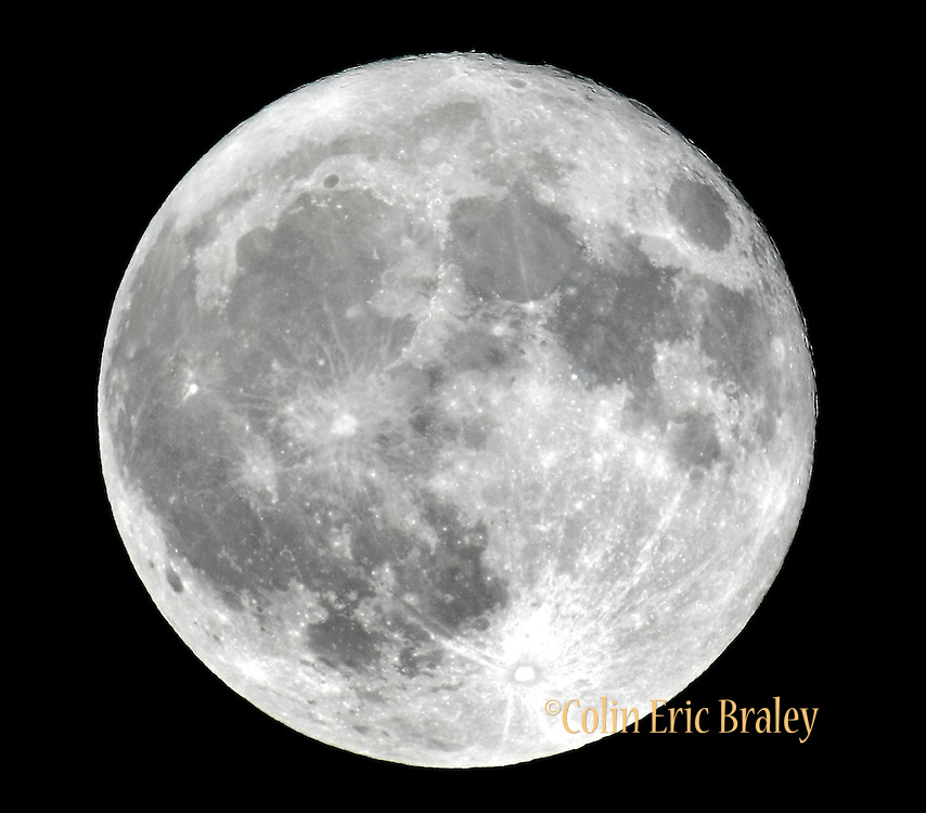 Craters on a full moon are more defined as the angle of the sunlight brings out their edges. Photo by Colin Braley
