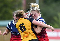 Esme Bird of Bristol Bears Women tussles with Sarah Mitchelson of Wasps FC Ladies - Mandatory by-line: Paul Knight/JMP - 08/09/2018 - RUGBY - Shaftesbury Park - Bristol, England - Bristol Bears Women v Wasps FC Ladies - Tyrrells Premier 15s