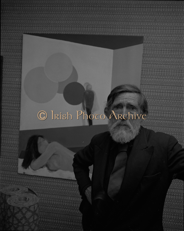 """04/07/1969.07/04/1969.4th July 1969.Sean Keating at an exhibit of a representative selection of the exhibits in the RTE Regional Arts awards from Limerick  shown in the Tintawn showroom in South KIng Street, Dublin...Sean Keating.Sean Keating (1889-1977).Portrait and figure painter, John Keating was born in Limerick on 28th September 1889...Examples: Armagh: County Museum. Ballinasloe, Co. Galway: St Joseph's College. Beijing: Irish Embassy. Belfast: Dublin Institute for Advanced Studies; Passionist Retreat, The Graan. Galway: National University of Ireland. Glasgow: Art Gallery and Museum. Kilkenny: ederated Workers' Union of Ireland; Hugh Lane Municipal Gallery of Modern Art; Institution of Engineers of Ireland; McKeeBarracks; Mansion House; National Gallery of Ireland; National Museum of Ireland; Office of Public Works; Pharmaceutical Society of Ireland; University College (Newman House; Earlsfort Terrace). Dundrum, Co. Dublin: Carmelite Fathers, Gort Muire. Enniskillen, Co. Fermanagh: Ulster Museum. Bray, Co. Wicklow: Letterkenny, Co. Donegal: St Eunan's Cathedral. Limerick: City Gallery of Art; County Library; University, National Self-Portrait Collection. Naas, Co. Kildare:  Public Library. Brussels: Mused Modeme. Cork: Collins Barracks; Crawford Municipal Art Gallery. Dublin: Aras an Uachtar~in; Church of Ireland See House, Temple Road, Milltown; Church of St Therese, Mount Merrrion; Church of the Holy Spirit, Ballyroan; Co. Dublin Vocational Education Committee;.Literature: Royal Dublin Society Report of Council, 1""""4; The Studio, May 1915, July 1917, September 1923 (also illustration), July 1914, October 1924, November 1951; Seumas O'Brien, The Whale and the Grasshopper, Dublin 1920 (illustration); Dublin Magazine, December 1923 (illustration), October 1924 (illustration), July- September 1943, October-December 1946; John M. Synge, The Playboy of the Western World, London 1927 (illustrations); J. Crampton Walker, Irish Life and Landscape, Dublin 1927 (also i"""