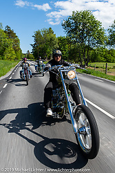 Jonis Nilsson riding his Twin Cam Harley-Davidson chopper on a Twin Club ride from the club house in Norrtälje after their annual Custom Bike Show. Sweden. Sunday, June 2, 2019. Photography ©2019 Michael Lichter.