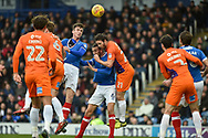 Portsmouth Forward, Oliver Hawkins (9) with a header at goal during the EFL Sky Bet League 1 match between Portsmouth and Northampton Town at Fratton Park, Portsmouth, England on 30 December 2017. Photo by Adam Rivers.