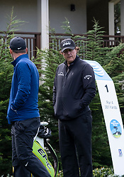 February 10, 2019 - Pebble Beach, CA, U.S. - PEBBLE BEACH, CA - FEBRUARY 10: Phil Mickelson braces against the cold wind on the 1st tee at the beginning of the final round of play at the AT&T Pebble Beach Pro-Am on Sunday, February 10, 2019 in Pebble Beach, CA. (Photo by Douglas Stringer/Icon Sportswire) (Credit Image: © Douglas Stringer/Icon SMI via ZUMA Press)