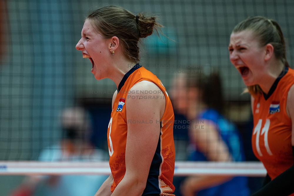 Hyke Lyklema of Netherlands in action during semi final Netherlands - Serbia, FIVB U20 Women's World Championship on July 17, 2021 in Rotterdam