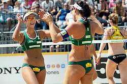 17-07-2014 NED: FIVB Grand Slam Beach Volleybal, Apeldoorn<br /> Poule fase groep G vrouwen - Agatha Bednarczuk and Barbara Seixas De Freitas from Brazil