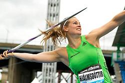adidas Grand Prix Diamond League professional track & field meet: womens javelin throw, Ásdís HJÁLMSDÓTTIR, Iceland
