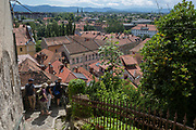 Aerial view from near Ljubljana Castle of the Slovenian capital, on 27th June 2018, in Ljubljana, Slovenia.