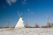 Kearney, Nebraska NE USA, Indian tipi tent on the Oregon trail near fort Kearney