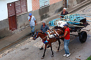 Horse and cart carrying part of a carnival ride in Gibara, Holguin, Cuba.