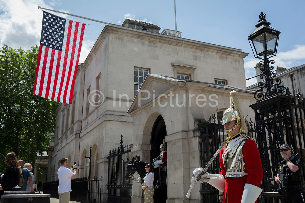 On US President Donald Trumps first day of a controversial three-day state visit to the UK by the 45th American President, the US Stars and Stripes flag hangs from Horseguards in Whitehall, on 3rd June 2019, in London England.