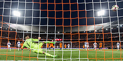 09.06.2017, De Kuip Stadium, Rotterdam, NED, FIFA WM 2018 Qualifikation, Niederlande vs Luxemburg, Gruppe A, im Bild Vincent Janssen (M) of Netherlands scores 5-0, Ralph Schon (3L) of Luxemburg // Vincent Janssen (M) of Netherlands scores 5-0, Ralph Schon (3L) of Luxemburg during the FIFA World Cup 2018, group A qualifying match between Netherlands and Luxemburg at the De Kuip Stadium in Rotterdam, Netherlands on 2017/06/09. EXPA Pictures © 2017, PhotoCredit: EXPA/ Focus Images/ Joep Joseph Leenen<br /> <br /> *****ATTENTION - for AUT, GER, FRA, ITA, SUI, POL, CRO, SLO only*****