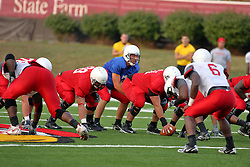 18 AUG 2007: Luke Drone readies for the snap. The Illinois State Redbirds, ranked in the top 10 in pre-season polls, prepare for the beginning of the season during the annual Red/White inter-squad scrimmage on the newly installed turf at Hancock stadium in Normal Illinois.