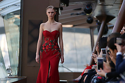 """Model during the Jessica Minh Anh's """"Catwalk On Water"""" Winter Fashion Show 2017 held on Bateaux Mouches' Le Jean Bruel on The Seine River in Paris on Thursday January 26, 2017"""