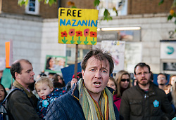 """© Licensed to London News Pictures. 25/11/2017. London, UK. Richard Ratcliffe, husband of British Iranian Nazanin Zaghari-Ratcliffe who remains in prison in Iran. Proteters delivered a """"Mothers Open Letter"""" to the Islamic Centre England addressed to His Excellency Sayyed Ali Hosseini Khamenein calling for her immediate release. Photo credit: Rob Pinney/LNP"""