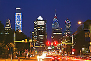 Philadelphia Skyline, Comcast (l), BNY Mellon Skyscrapers, Market Street, Night Lights