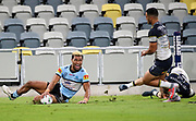 Ronaldo Mulitalo scores a try.<br /> 2020 NRL Round 04 - North Queensland Cowboys v Cronulla-Sutherland Sharks, Queensland Country Bank Stadium, 2020-06-06. Digital image by Michael Chambers � NRL Photos