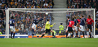 Fotball<br /> Foto: SBI/Digitalsport<br /> NORWAY ONLY<br /> <br /> Skottland v Norge<br /> 09.10.2004<br /> <br /> Scotland's James McFadden (L) sticks out his hand to stop the ball going into the goal and is shown the red card as a result.