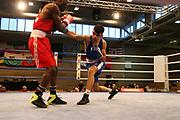 Boxen: Elite, Deutsche Meisterschaften, Viertelfinale, Lübeck, 07.12.2017<br /> Bantamgewicht 56 Kg: Raman Sharafa (Bayern) - Ahmed Al Jabar (Hamburg)<br /> © Torsten Helmke