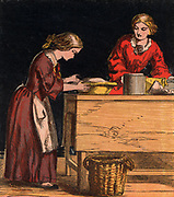 Putting a pastry crust on the top of a fruit pie. Chromolithograph from a children's book published London, 1867.