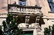 Stone balcony architectural detail in city of Mdina, Malta 1998