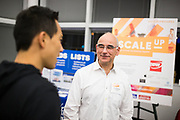 Abe Keinfeld networks at the Silicon Valley Business Journal's Scale Up event at the Computer History Museum in Mountain View, California, on November 13, 2018. (Stan Olszewski for Silicon Valley Business Journal)