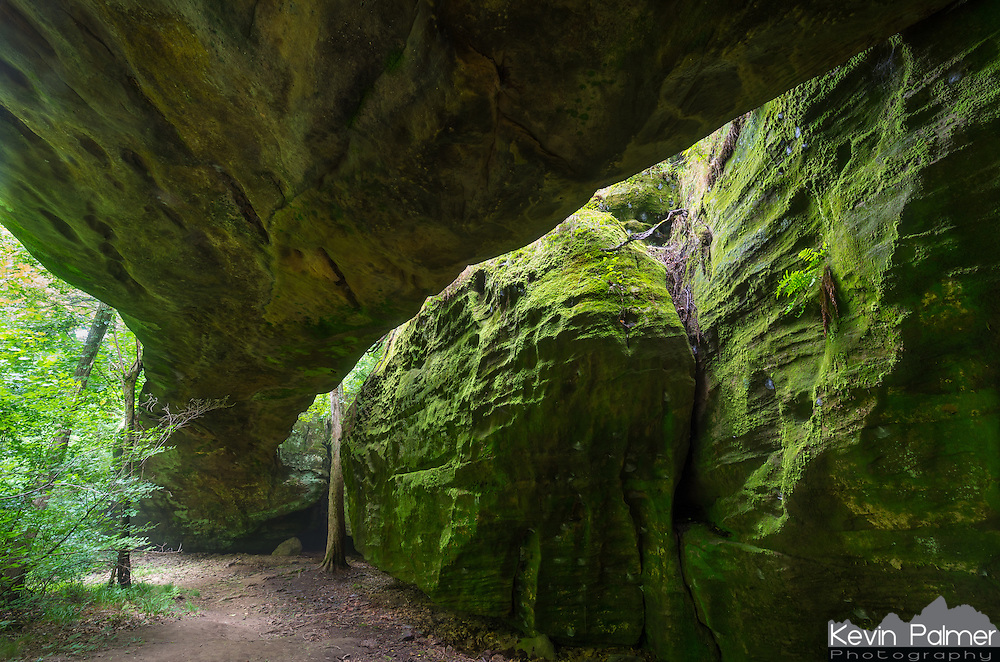 """Mantle Rock is located in rural western Kentucky. The 188 foot long arch is the longest in the US east of the Mississippi River. A thick green moss covers the moist and shady sandstone walls. This place also has historical significance as well. In the harsh winter of 1838-1839 almost 2,000 Cherokee Indians camped in the area as they waited for the nearby Ohio River to thaw. These Native Americans were forced by the government to relocate from the Deep South to present-day Oklahoma. A large percentage of them tragically died during the long journey, on what is known as """"The Trail of Tears.""""<br /> <br /> Date Taken: July 23, 2014"""