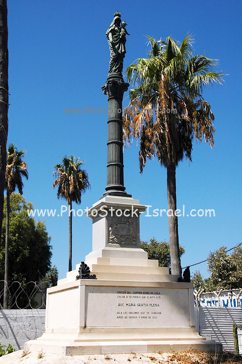 Israel, Haifa a statue of the virgin Carmen, Virgen del Carmen, Reina de Chile in memory of the Chilean soldiers who died in Palestine during and after world war one