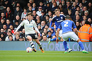 Fulham midfielder, Emerson Hyndman (28) dribbling during the Sky Bet Championship match between Fulham and Cardiff City at Craven Cottage, London, England on 9 April 2016. Photo by Matthew Redman.