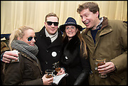 EMILY PRAGNELL; ED GRANT; CHLOE DELEVIGNE; CHARLIE PRAGNELL, The Heythrop Hunt Point to Point. Cockle barrow. 25 January 2015