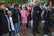 Moscow, Russia, 15/05/2012..People listening to a Communist speaker in Chistiye Prudy, or Clean Ponds, as a Moscow court ordered the eviction of some 200 opposition activists who have set up camp in the city centre park.