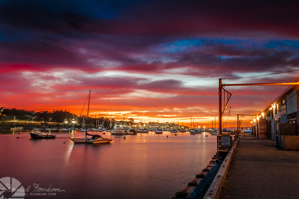 Sunset view of the Monterey, California harbor from Wharf #2
