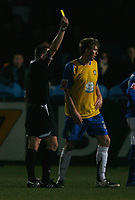 Photo: Steve Bond/Sportsbeat Images.<br />Macclesfield Town v Hereford United. Coca Cola League 2. 26/12/2007. Dean Beckwith receives a yellow card
