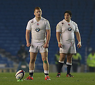 England's Rory Jennings (Bath Rugby) with a penalty kick during the Under 20s Six Nations Championship match between England and France at the American Express Community Stadium, Brighton and Hove, England on 20 March 2015. Photo by Phil Duncan.