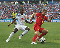 June 18, 2018 - Sochi, Russia - June 18, 2018, Russia, Sochi, FIFA World Cup 2018, First round, Group G, First round, Belgium vs Panama at Fisch Stadium. Belgium - Panama. Player of the national team Dris Mertens; Armando Cooper. (Credit Image: © Russian Look via ZUMA Wire)