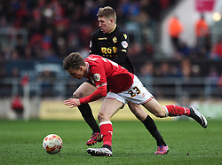 Joe Bryan of Bristol City runs down the wing closed down by Josh Vela of Bolton Wanderers - Mandatory byline: Dougie Allward/JMP - 19/03/2016 - FOOTBALL - Ashton Gate - Bristol, England - Bristol City v Bolton Wanderers - Sky Bet Championship