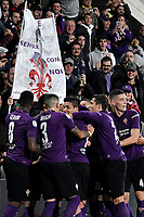 Jordan Veretout of Fiorentina celebrates with team mates after scoring a goal  on penalty  during the Serie A 2018/2019 football match between ACF Fiorentina and AS Roma at stadio Artemio Franchi, Firenze, November 03, 2018 <br />  Foto Andrea Staccioli / Insidefoto
