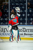 KELOWNA, CANADA - NOVEMBER 29: James Porter #1 of the Kelowna Rockets stands on the ice during warm up against the Prince George Cougars on November 29, 2017 at Prospera Place in Kelowna, British Columbia, Canada.  (Photo by Marissa Baecker/Shoot the Breeze)  *** Local Caption ***