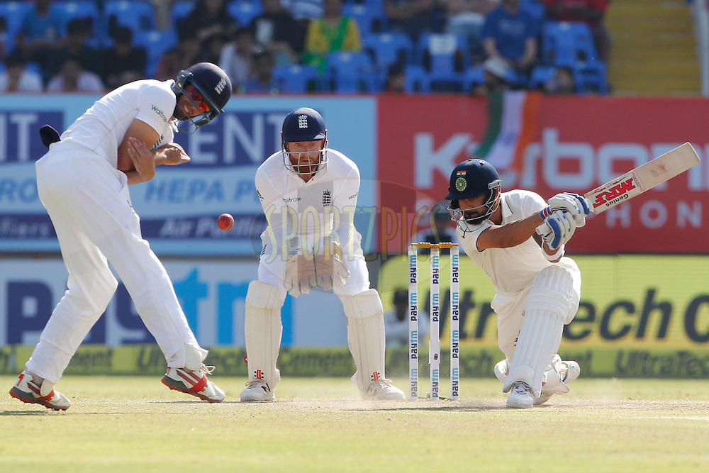 Virat Kohli Captain of India bats during day 5 of the first test match between India and England held at the Saurashtra Cricket Association Stadium , Rajkot on the 13th November 2016.<br /> <br /> Photo by: Deepak Malik/ BCCI/ SPORTZPICS