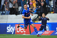 GOAL Ian Henderson celebrates opening the scoring - sky bet advertising  during the EFL Sky Bet League 1 match between Rochdale and Gillingham at Spotland, Rochdale, England on 15 September 2018.