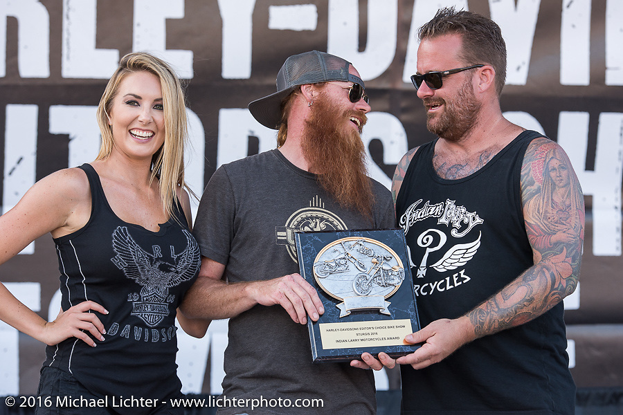 Bobby Seeger gives out an award at the Harley-Davidson Editors Choice Custom Bike Show during the annual Sturgis Black Hills Motorcycle Rally. SD, USA. August 9, 2016. Photography ©2016 Michael Lichter.