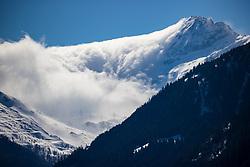 THEMENBILD - Nebelschwaden ziehen von Osttirol kommend über die Schneebedeckten Gipfel der Hohen Tauern ins Felbertal nach Mittersill. Aufgenommen Sonntag 15. März 2020 in Mittersill // Clouds of fog come from East Tyrol over the snow-covered peaks of the Hohe Tauern into the Felbertal to Mittersill on Sunday March 15th, 2020, Austria. EXPA Pictures © 2020, PhotoCredit: EXPA/ Johann Groder