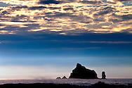 Seastacks, clouds and ocean spray at Rialto Beach, WA