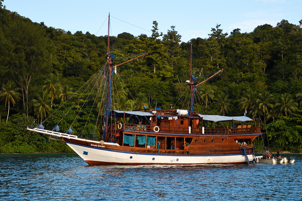 """Ecotourism, the Kuranesi Explorer ship, Raja Ampat, Western Papua, Indonesian controlled New Guinea, on the Science et Images """"Expedition Papua, in the footsteps of Wallace"""", by Iris Foundation"""