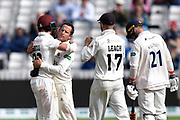 Wicket - Roelof van der Merwe of Somerset celebrates taking the wicket of Ravi Bopara of Essex with Tom Abell of Somerset during the Specsavers County Champ Div 1 match between Somerset County Cricket Club and Essex County Cricket Club at the Cooper Associates County Ground, Taunton, United Kingdom on 26 September 2019.