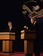 Bush and Clinton at the presidential debate in St Louis on October 11, 1992..Photograph by Dennis Brack bb24