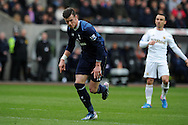 Tottenham's Gareth Bale celebrates after he scores his sides 2nd goal . Barclays Premier League, Swansea city v Tottenham Hotspur at the Liberty Stadium in Swansea, South Wales on Saturday 30th March 2013. pic by Andrew Orchard, Andrew Orchard sports photography,