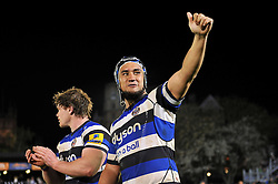 Leroy Houston of Bath Rugby celebrates with the Bath supporters in the crowd after the match - Photo mandatory by-line: Patrick Khachfe/JMP - Mobile: 07966 386802 24/04/2015 - SPORT - RUGBY UNION - Bath - The Recreation Ground - Bath Rugby v London Irish - Aviva Premiership